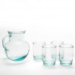 Set pour sangria 5 pièces : ensemble de 4 verres + 1 carafe/pichet assortie en verre 100% recyclé.