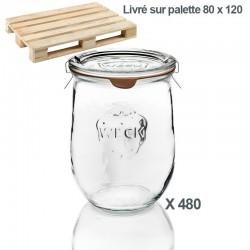 WECK-Tulpenglas 1062 ml (Rundrand 100) 480 Gläser / Karton mit Deckeln und Einkochringen (ohne Klammern)