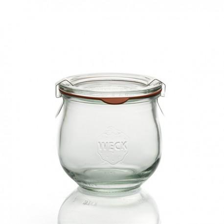 Flessen in glas Weck Model Corolle 370ml, doorsnede 80 mm. Ingesloten verbindingsstukken en deksels. Niet geleverde clips.