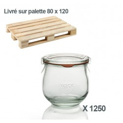 WECK®-Tulpenglas 370 ml (Rundrand 80) 1250  Gläser inklusive Glasdeckel und Einkochringe (ohne Klammern)