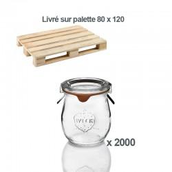 1 palette de 2000 Bocaux en verre Weck® Corolle® 220 ml avec couvercles et joints (clips non inclus)