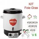 Kit WECK FOIE GRAS : Stérilisateur WECK 29 litres + 6 Bocaux WECK 290 ml hauts complets + 12 clips + 1 pince WECK