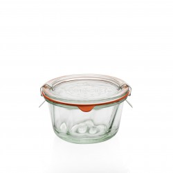 6 tarros Weck® Kougelhopf 280 ml, diámetro 100 mm. con tapas en vidrio y gomas (clips no incluidos)