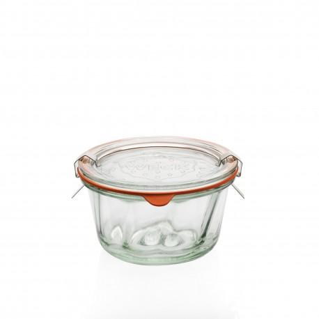 6 Bocaux Weck® Kougelhopf 280 ml, diamètre 100 mm avec couvercles en verre et joints (clips non inclus)