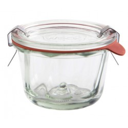 12 vasi in vetro WECK Kougelhopf 165 ml, diametro 80 mm con coperchi in vetro e guarnizioni (graffe non incluse)