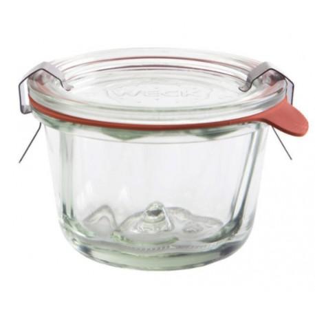 6 vasi in vetro WECK® DROIT 290 ml piatti, diametro 100 mm con coperchi in vetro e guarnizioni (graffe non incluse)