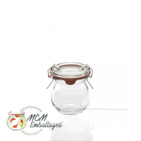 12 glazen in glas WECK® Corolle® 220 ml met deksels en verbindingsstukken (niet ingesloten clips)