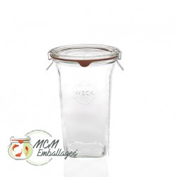 6 Glass jars Weck® Quadro 795 ml with lid and rubber rings ø 100 mm included (clips not included)