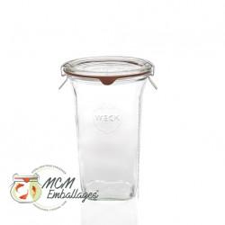 Jar weck® Quadro 795 ml mit Deckel und Dichtung ø 100 mm einschließlich (nicht eingeschlossen Clips)