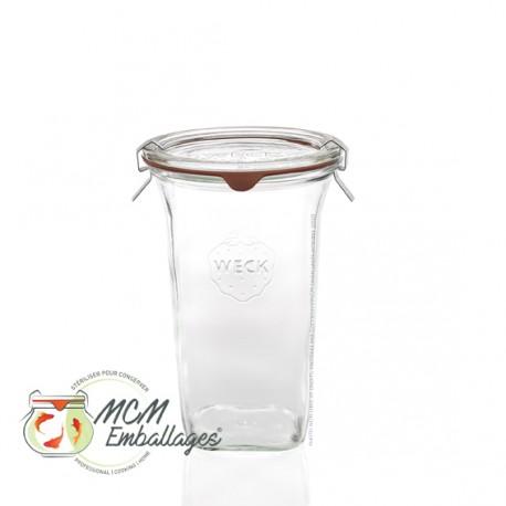 Bocal weck® quadro 795 ml avec couvercle et joint ø 100