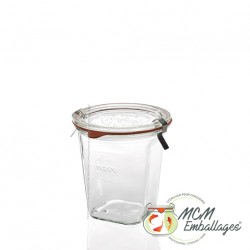 6 glass jars Weck® Quadro 545 ml with glass lid and rubber rings ø 100 mm  (clips not included)