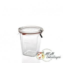 6 potten Weck® quadro 545 ml met deksels in glas en verbindingsstukken (niet ingesloten clips)