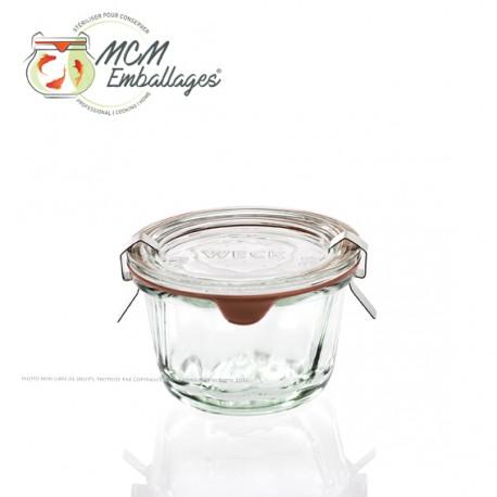 6 glazen in glas Weck® 290 ml DROIT, doorsnede 100 mm met deksels in glas en verbindingsstukken (niet ingesloten clips)