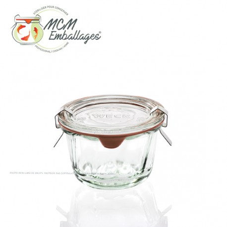6 WECK® glass jars Kougelhopf 280 ml diameter 100 mm with rubber rings and glass lids (clips not included)