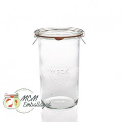 6 glass jars WECK® mold shape Droit,1550 ML with glass lid ans rubber ring diam. 100 mm (clips not included)