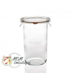 6 glazen in glas Weck® recht DROIT 1550 ml met deksels in glas en verbindingsstukken (niet ingesloten clips)