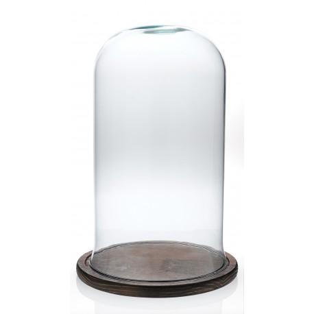 Cloche en verre décorative CAMPANA Grand modèle sur plateau de bois naturel