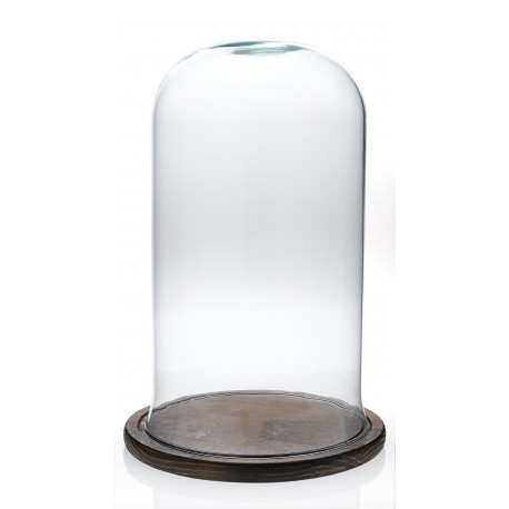 Cloche en verre décorative CAMPANA petit modèle sur plateau de bois naturel