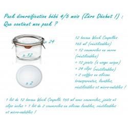 Pack DIVERSIFICATION bébé : 1 lot de 12 bocaux 165 ml complets + 2 coiffes en silicone réutilisables