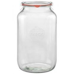 4 bocaux en verre WECK® TUBES® 3 Litres diam. 100 mm avec couvercles en verre et joints diamètre 100 (clips non inclus)
