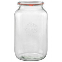 4 vasi in vetro WECK TUBE® 3000 ml con coperchi in vetro e guarnizioni (graffe non incluse)