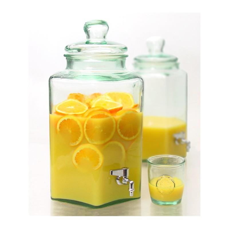 Bonbonne hexagonale 6 5 litres avec couvercle en verre et - Saladier verre avec couvercle ...