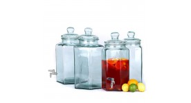 Glass beverage dispensers and candy jars